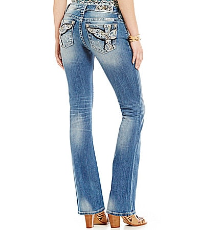Miss Me Angel Wing Embroidered Bootcut Jeans
