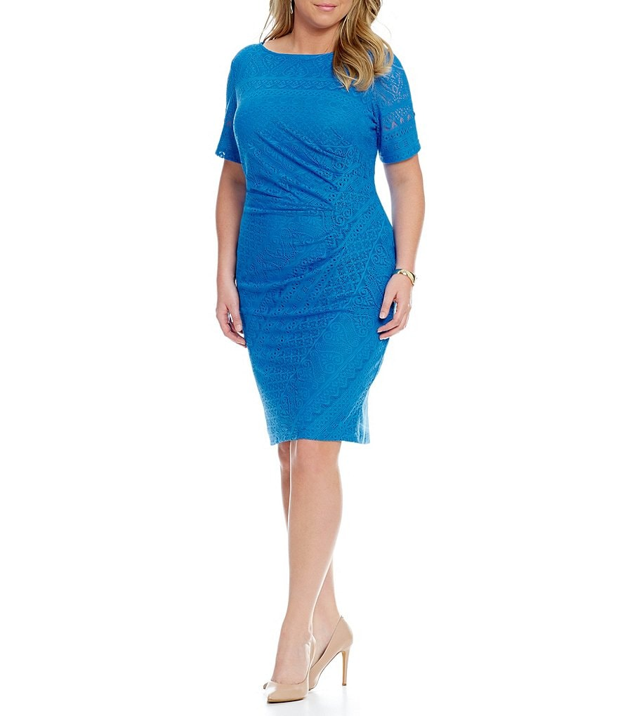 London Times Plus Ruched Side Lace Sheath Dress