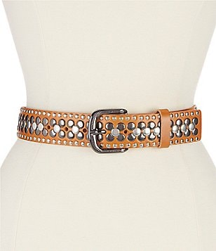 Reba Flat Stud Leather Belt