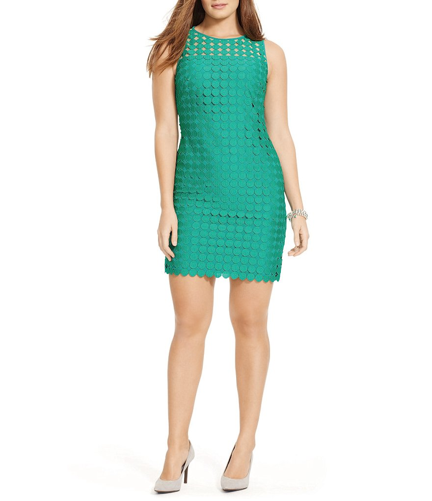 Lauren Ralph Lauren Plus Geometric Lace Dress