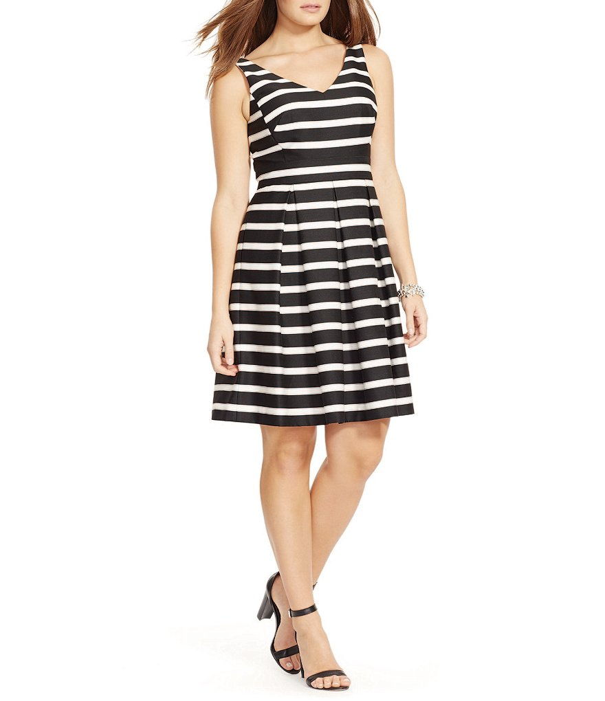Lauren Ralph Lauren Plus Stretch Striped Sateen Dress