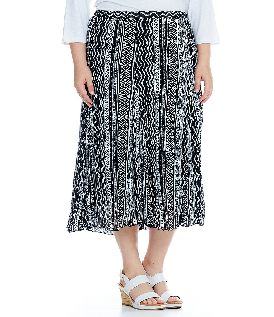 Allison Daley Plus Pleated Pull-On Tribal-Print Skirt