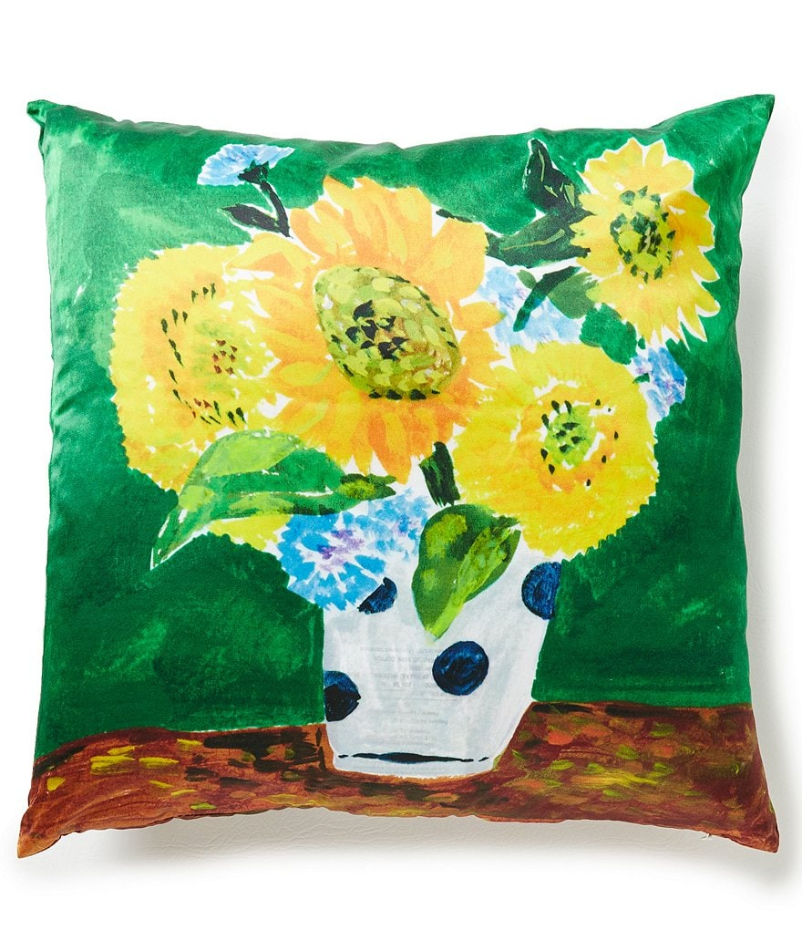 kate spade new york Sunflower Vase Silk & Cotton Square Feather Pillow