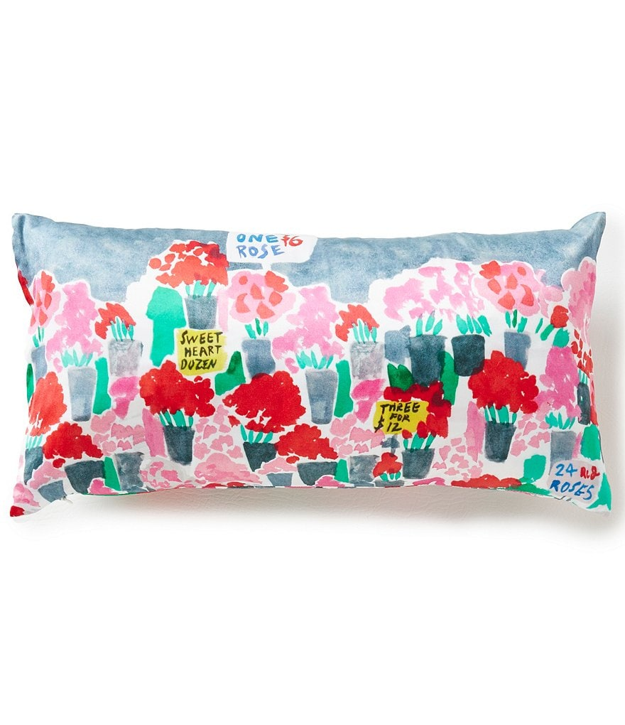 kate spade new york Flower Market Silk & Cotton Oblong Feather Pillow