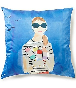 kate spade new york Beach Day Striped Silk & Cotton Square Feather Pillow