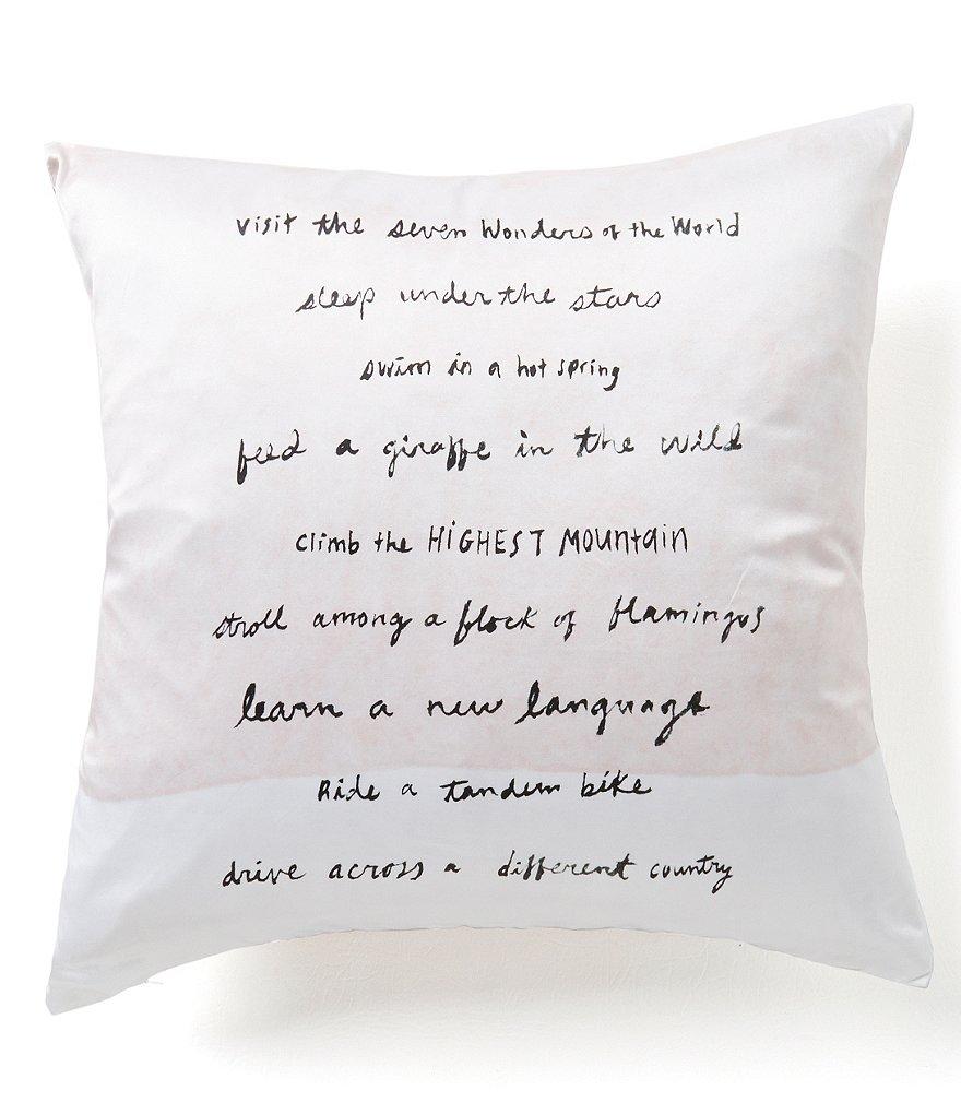 kate spade new york Adventure Fund Written Word Silk & Cotton Square Feather Pillow