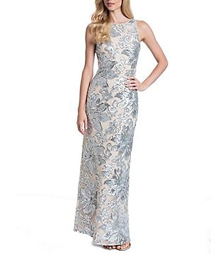 Belle Badgley Mischka Sequin Floral Melanie Gown
