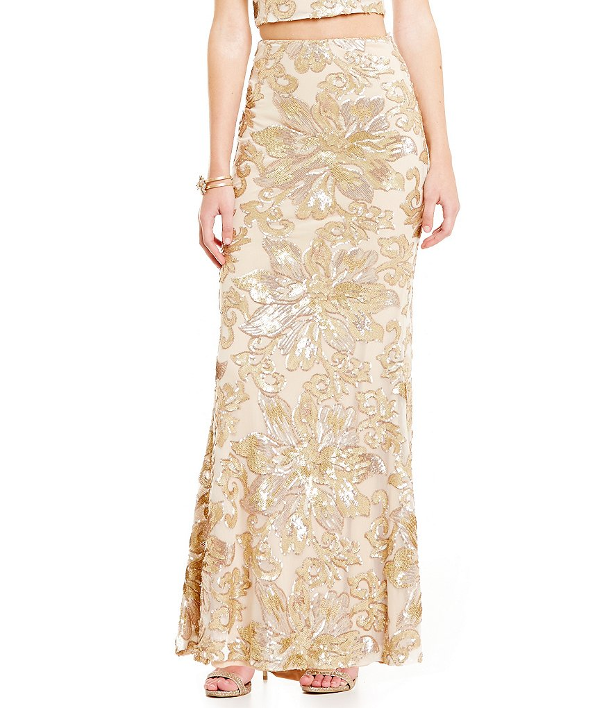 Belle Badgley Mischka Sequin Floral Long Maisie Skirt