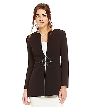 Belle Badgley Mischka Beaded Martina Front Hook Blazer
