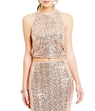 Belle Badgley Mischka Morgan Sequin Crop Top