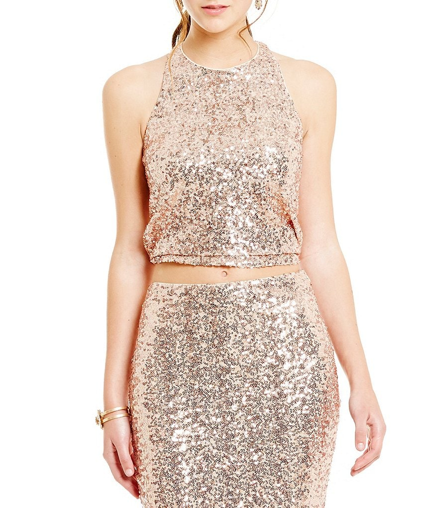 Belle Badgley Mischka Morgan Sequin CropTop