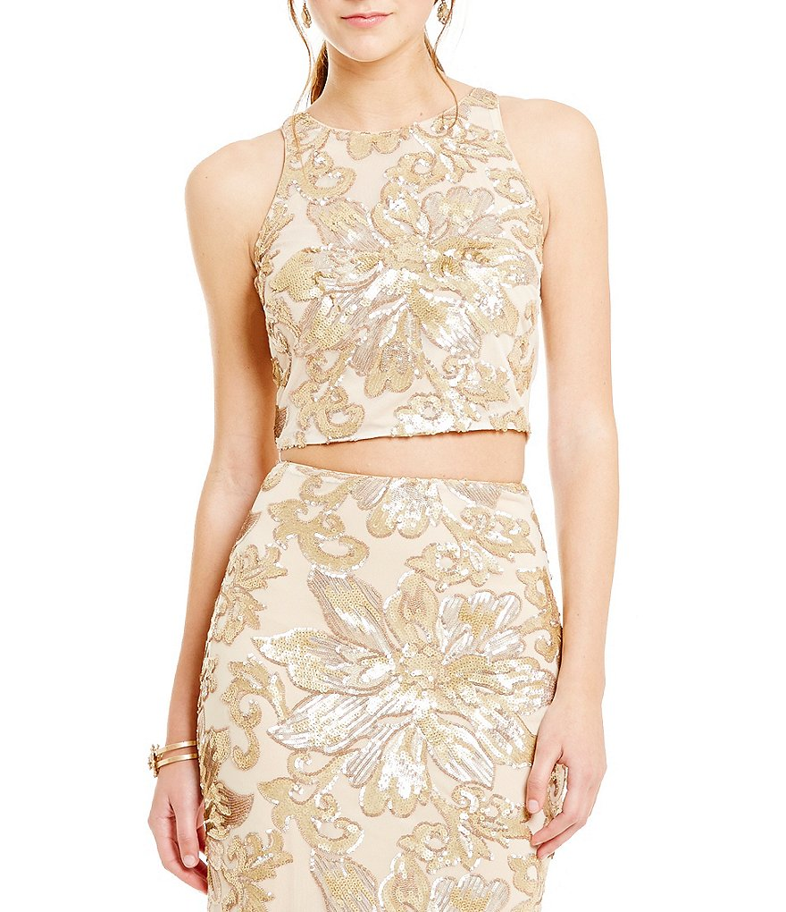 Belle Badgley Mischka Floral Sequin Margot Crop Top