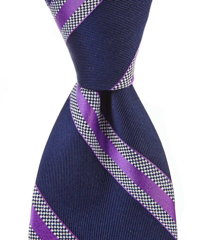 Roundtree & Yorke Trademark Race Stripe Traditional Tie