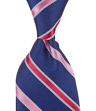Roundtree & Yorke Trademark Gren Stripe Traditional Silk Tie