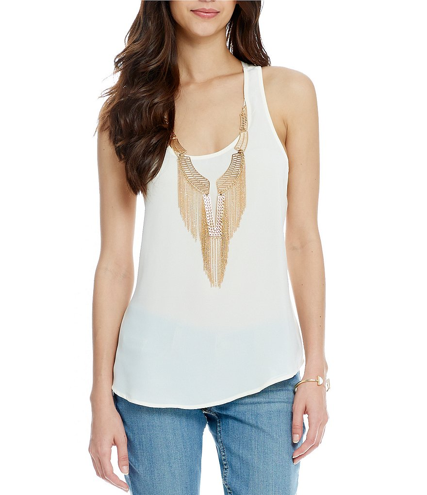 Soulmates Fringe Necklace Sleeveless Tank Top