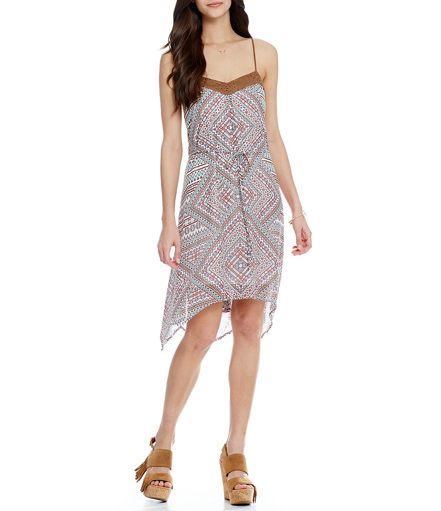 Soulmates Faux-Suede-Trimmed Printed Dress