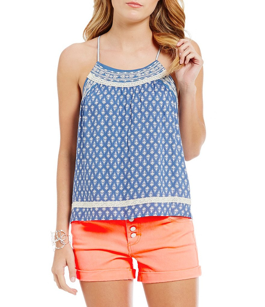 Jolt Puff-Screen Printed Lightweight Gauze Tank Top