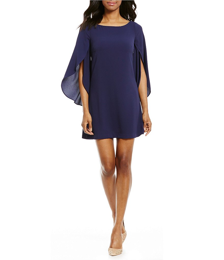 Jessica Simpson Bell Sleeve Crepe Shift Dress
