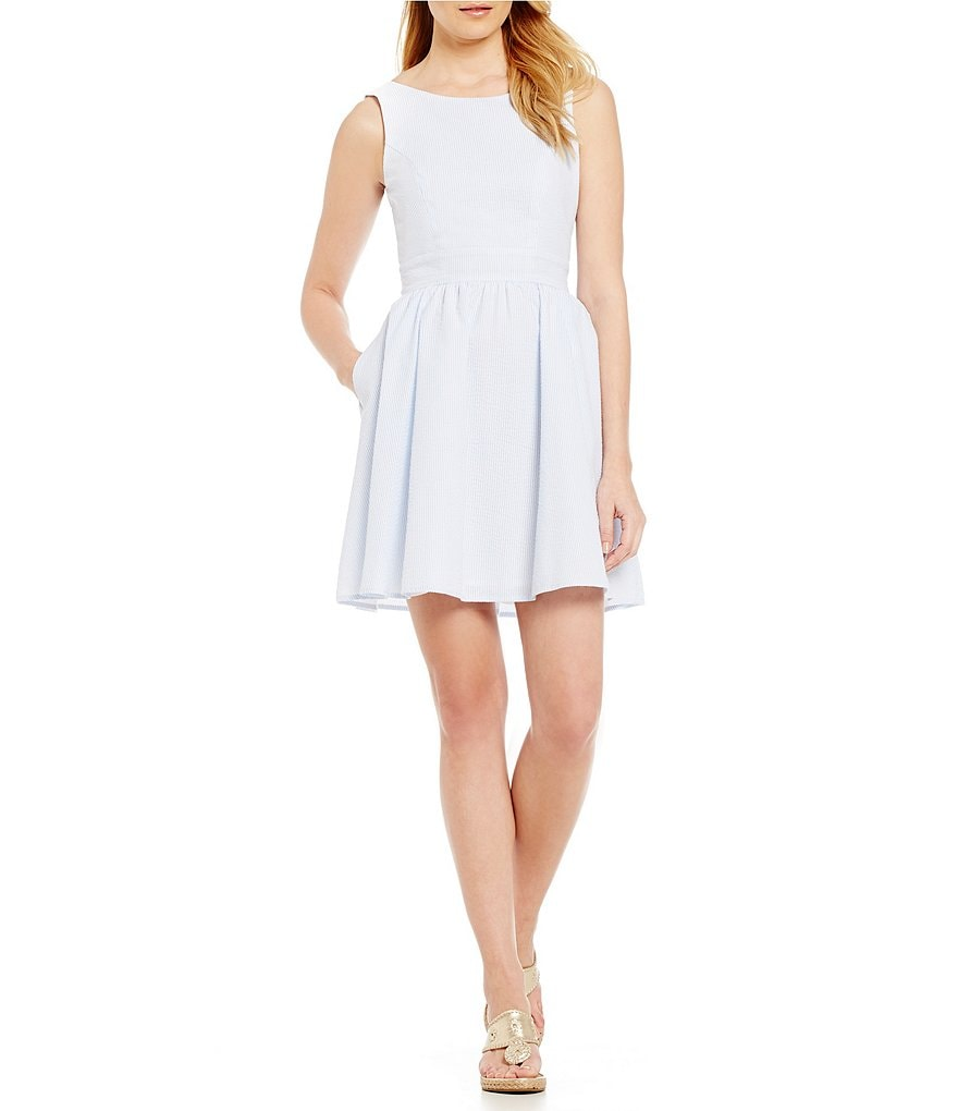 Lauren James Emerson Bow-Back Seersucker Dress