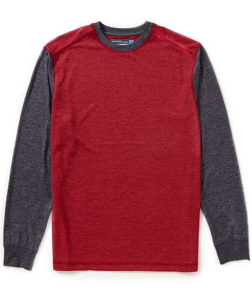 Roundtree & Yorke Performance Color Block Long-Sleeve Crewneck Tee