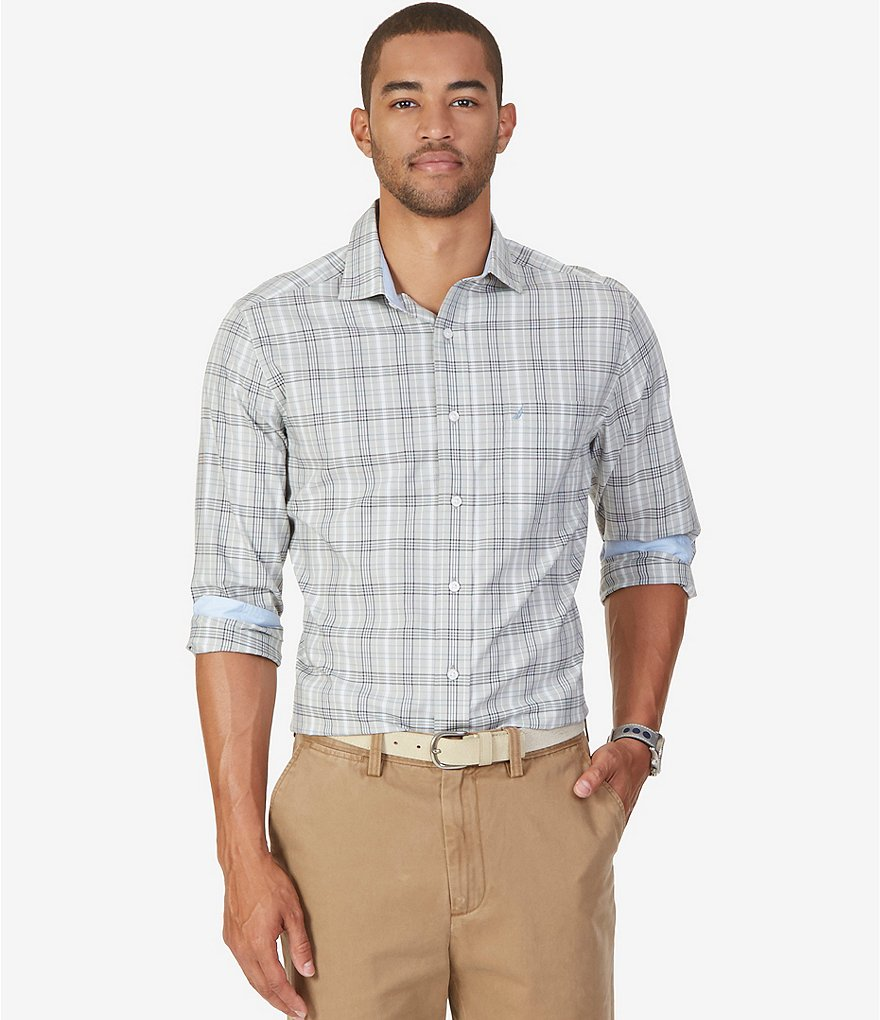 Nautica Plaid Printed Classic-Fit Long-Sleeve Button-Down Woven Shirt