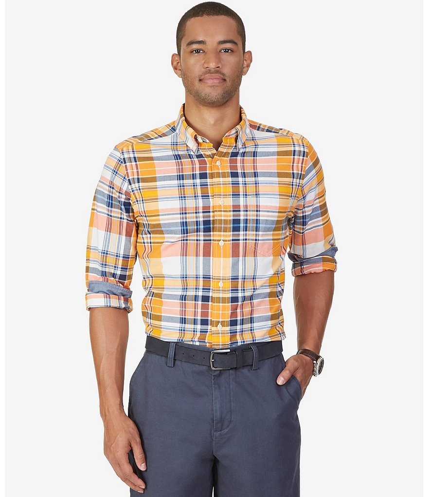 Nautica Plaid Classic-Fit Oxford Woven Shirt