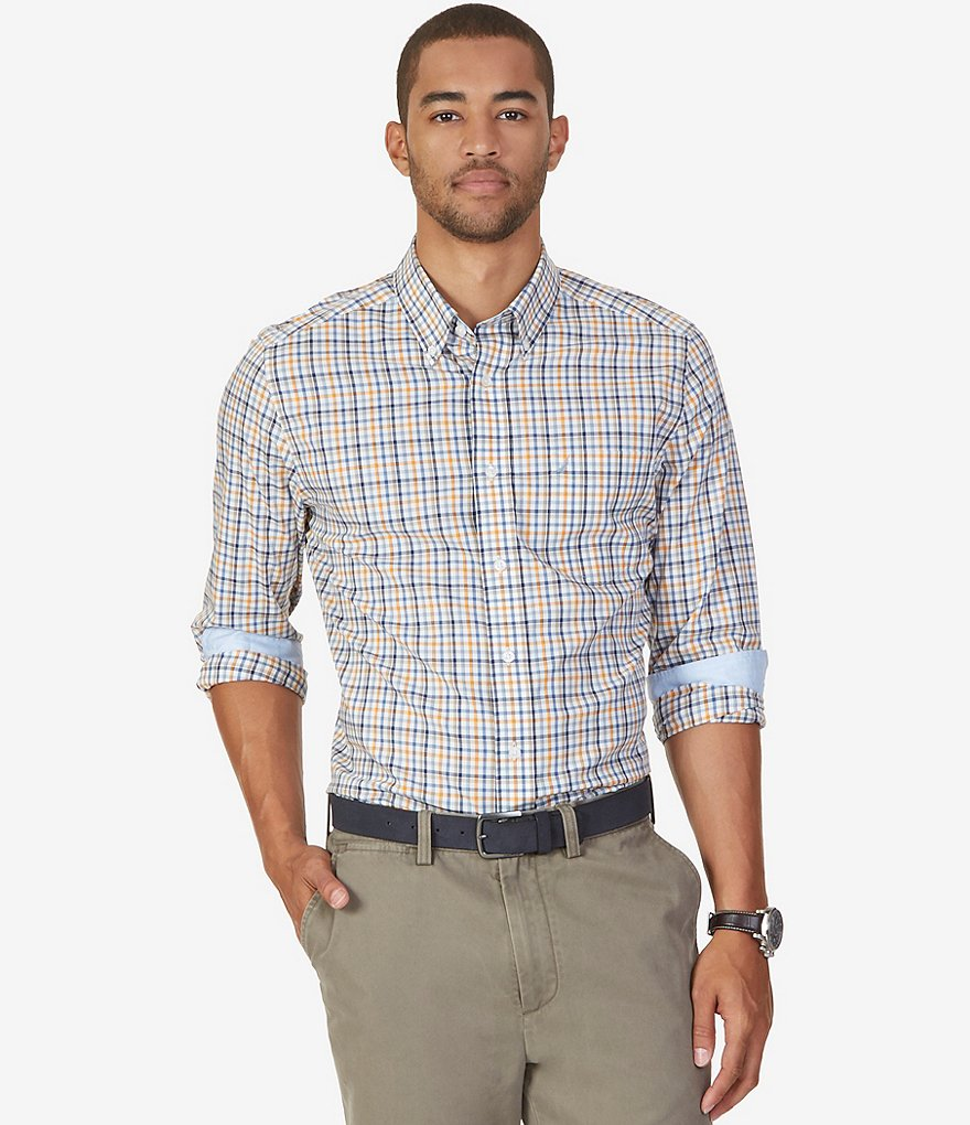 Nautica Estate Plaid Classic-Fit Wrinkle-Resistant Long-Sleeve Button-Down Shirt