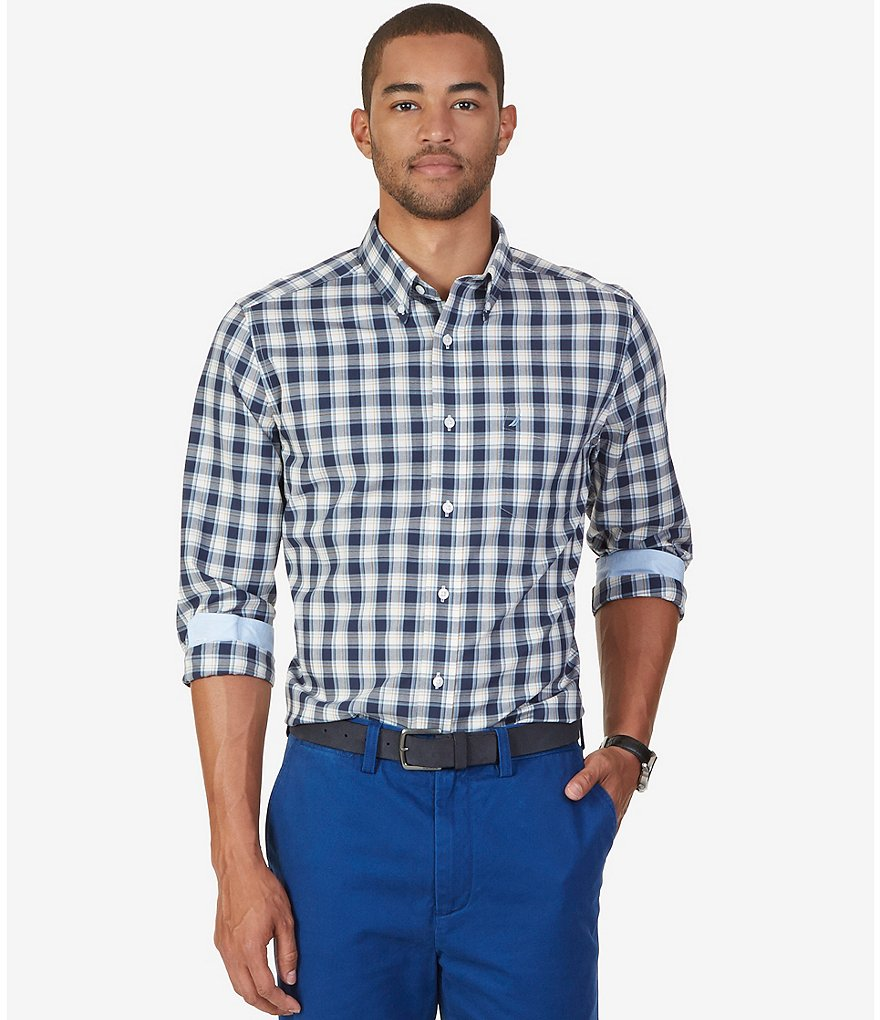 Nautica Plaid Classic-Fit Wrinkle-Resistant Long-Sleeve Button-Down Shirt
