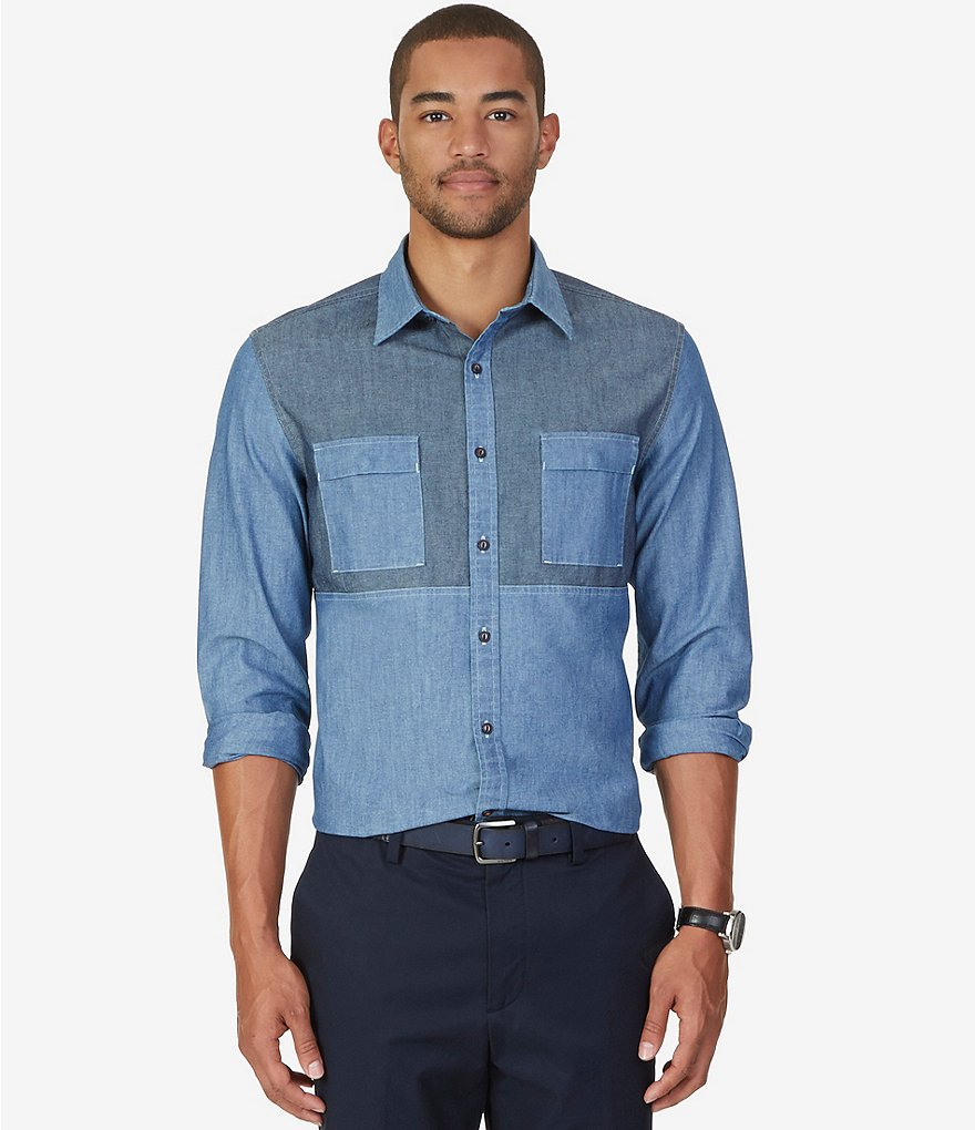 Nautica Slim-Fit Pieced Two-Tone Chambray Shirt