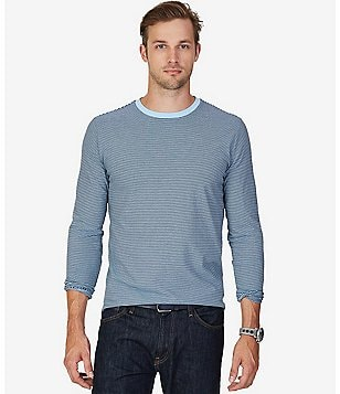 Nautica Horizontal Striped Classic-Fit Long-Sleeve Crewneck Tee