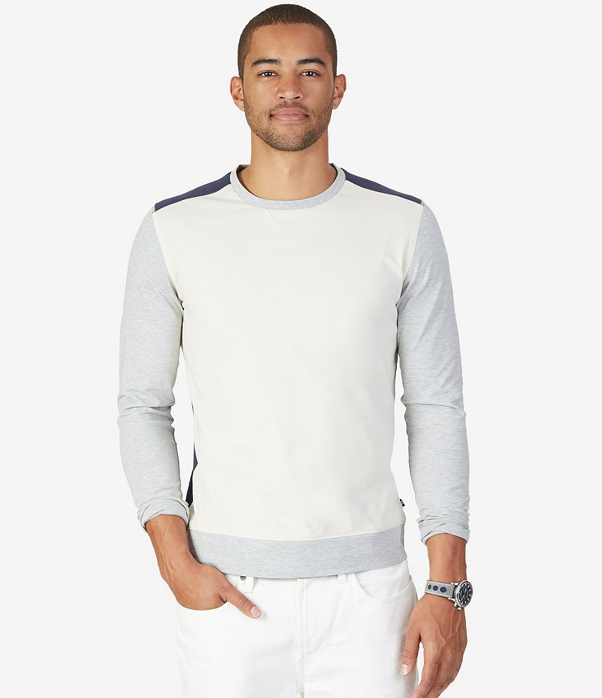 Nautica Color Block Slim-Fit Long-Sleeve Shirt