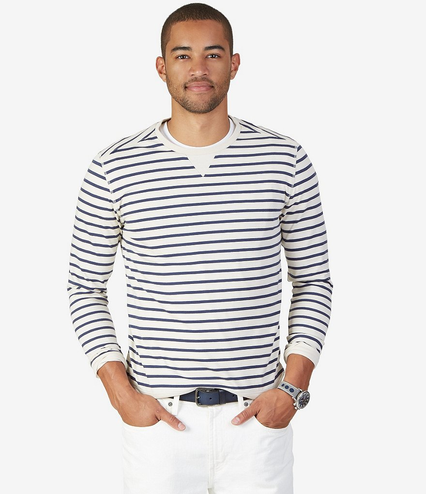 Nautica Horizontal Striped Slim-Fit Long-Sleeve Shirt
