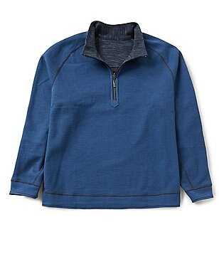 Tommy Bahama Big & Tall Slubtropic Reversible Half-Zip Mockneck Pullover