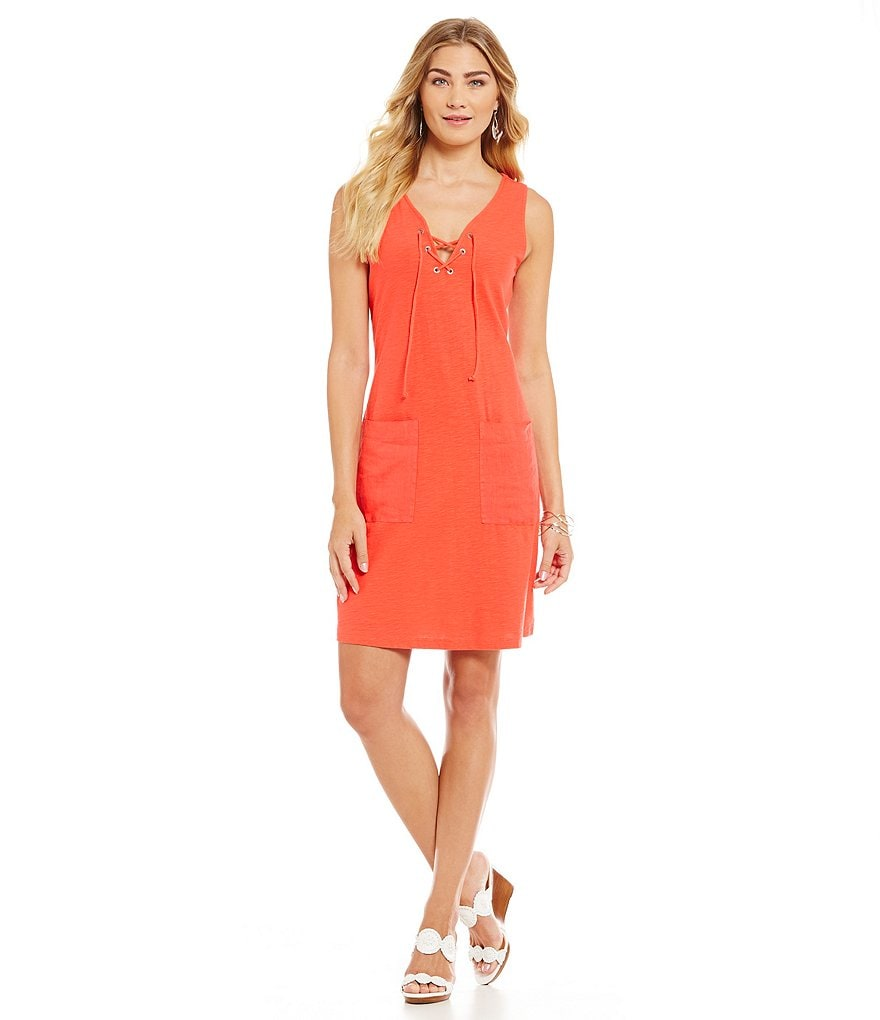 Tommy Bahama Arden Jersey Lace Up Dress