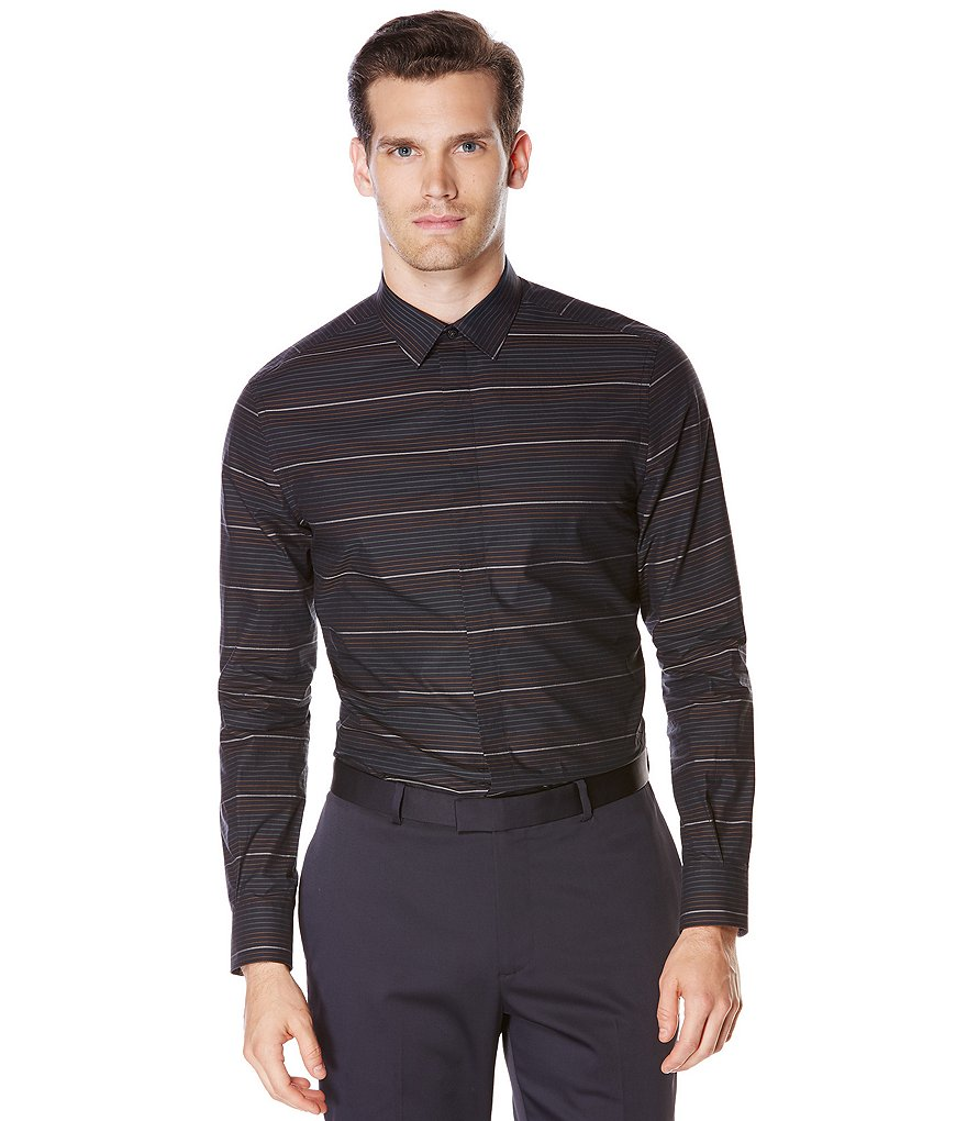 Perry Ellis Big & Tall Stripe Ombre Long-Sleeve Woven Shirt