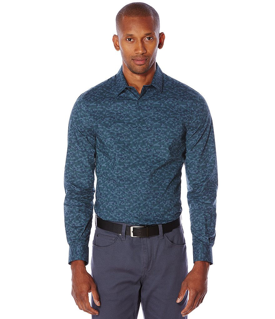 Perry Ellis Big & Tall Printed Long-Sleeve Woven Shirt