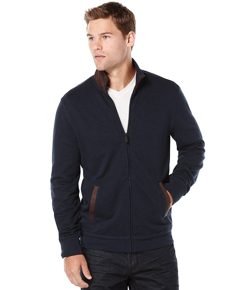 Perry Ellis Big & Tall Full-Zip Elbow Patch Sweater