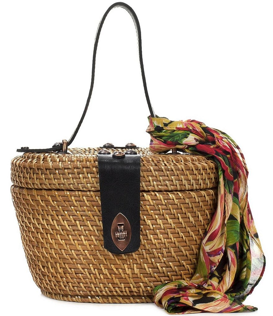 Patricia Nash Spring Wicker Collection Caselle Basket Bag with Floral Scarf