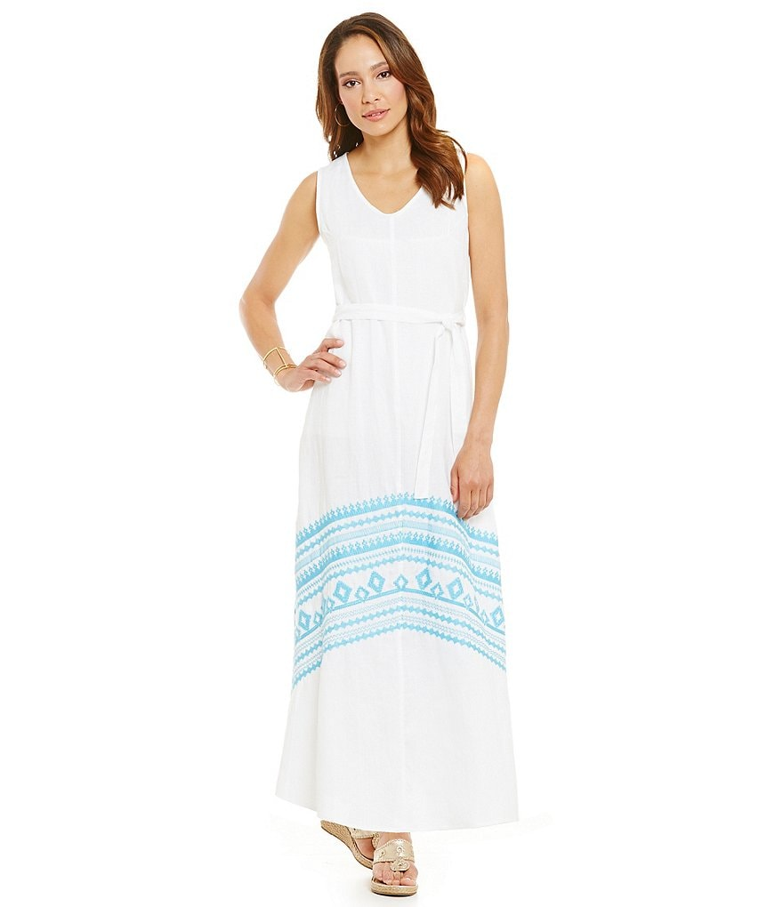 James Bryan Embroidered Sleeveless Maxi Dress