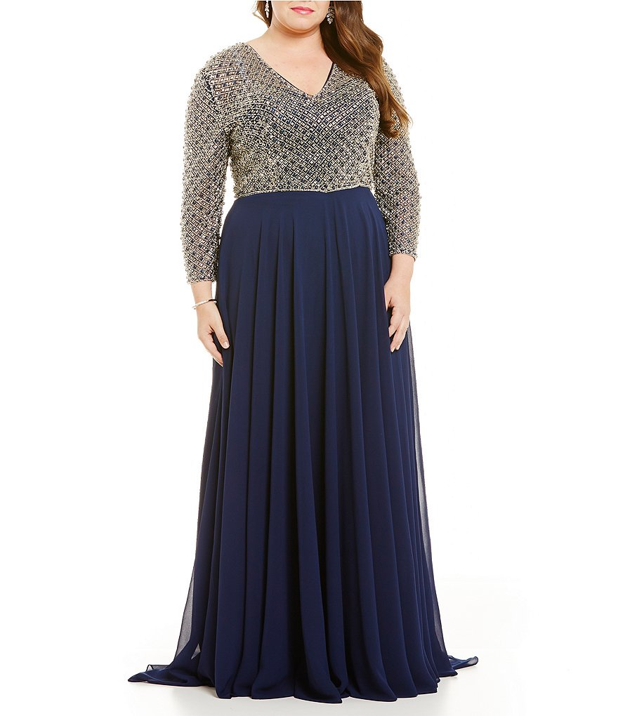 Terani Couture Plus 3/4 Sleeve Beaded Bodice Long Sleeve Gown