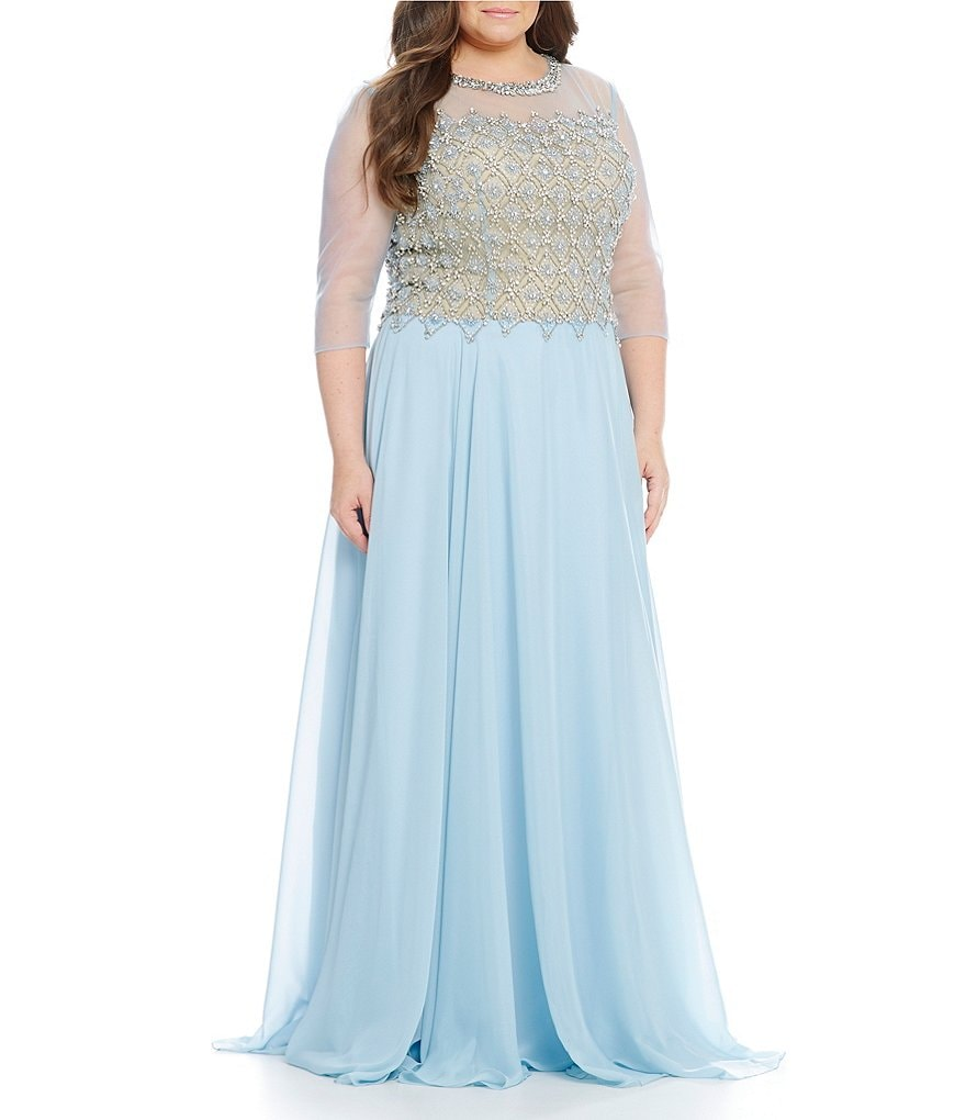 Terani Couture Plus Beaded Neck and Bodice Gown