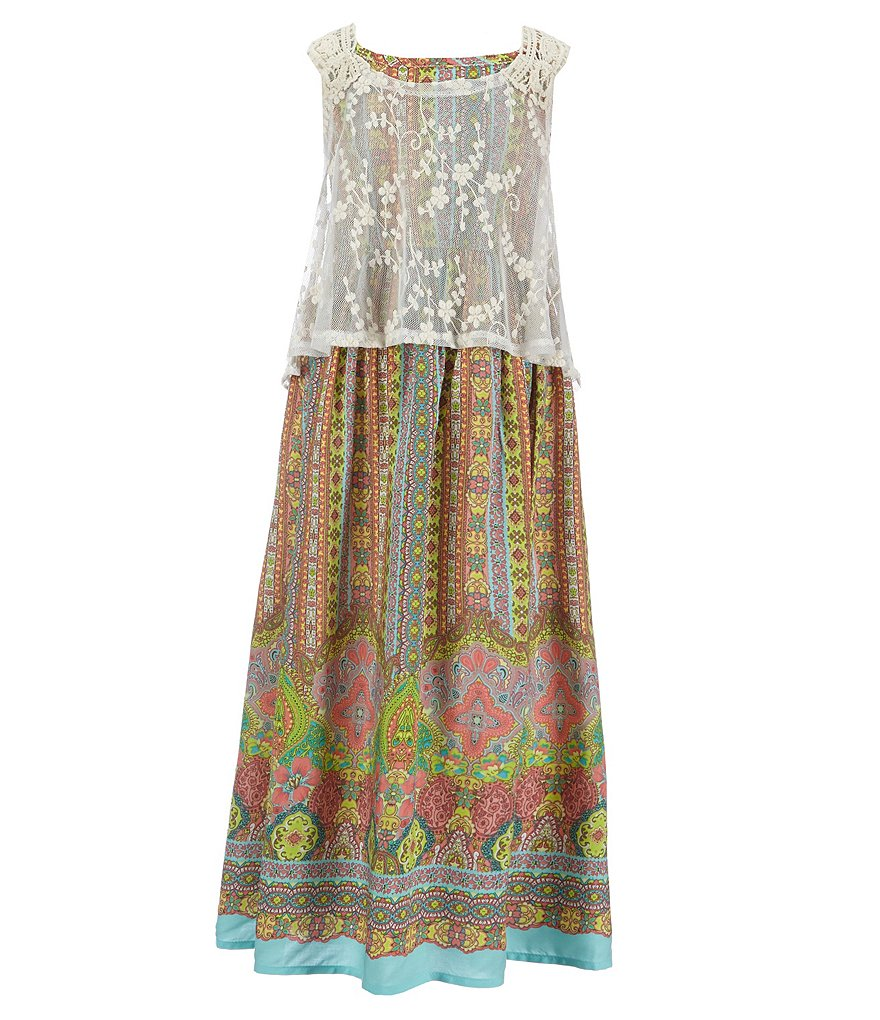 Bonnie Jean Little Girls 2T-6X Popover-Bodice Tribal-Printed Challis Maxi Dress