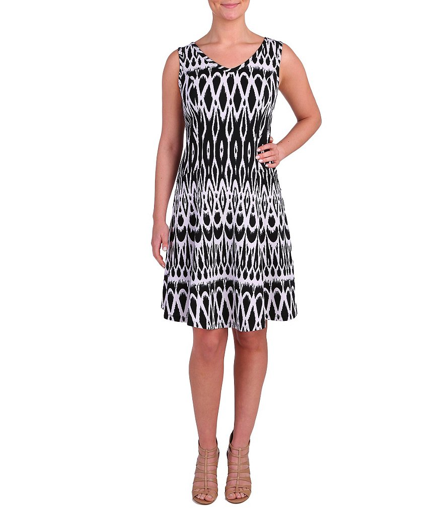 Peter Nygard Audrey Printed Knit Fit-and-Flare Dress