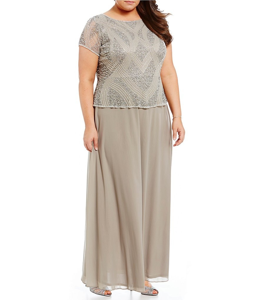 Pisarro Nights Plus Beaded Peplum Mock Gown