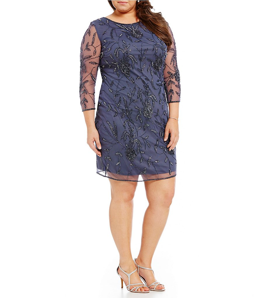Pisarro Nights Plus Beaded 3/4 Sleeve Sheath Dress
