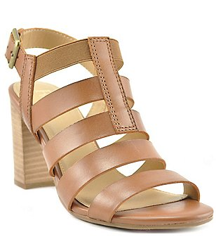 Reba Effie Banded Leather Banded Slingback Block Heel Sandals