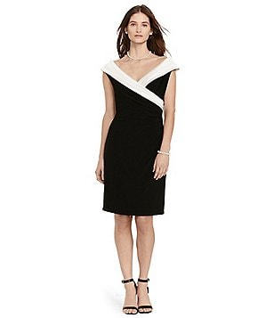 Lauren Ralph Lauren Two Tone Portrait Collar Dress