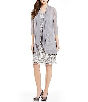 R&M Richards Collarless 3/4 Sleeve Fringe-Lace Jacket Dress