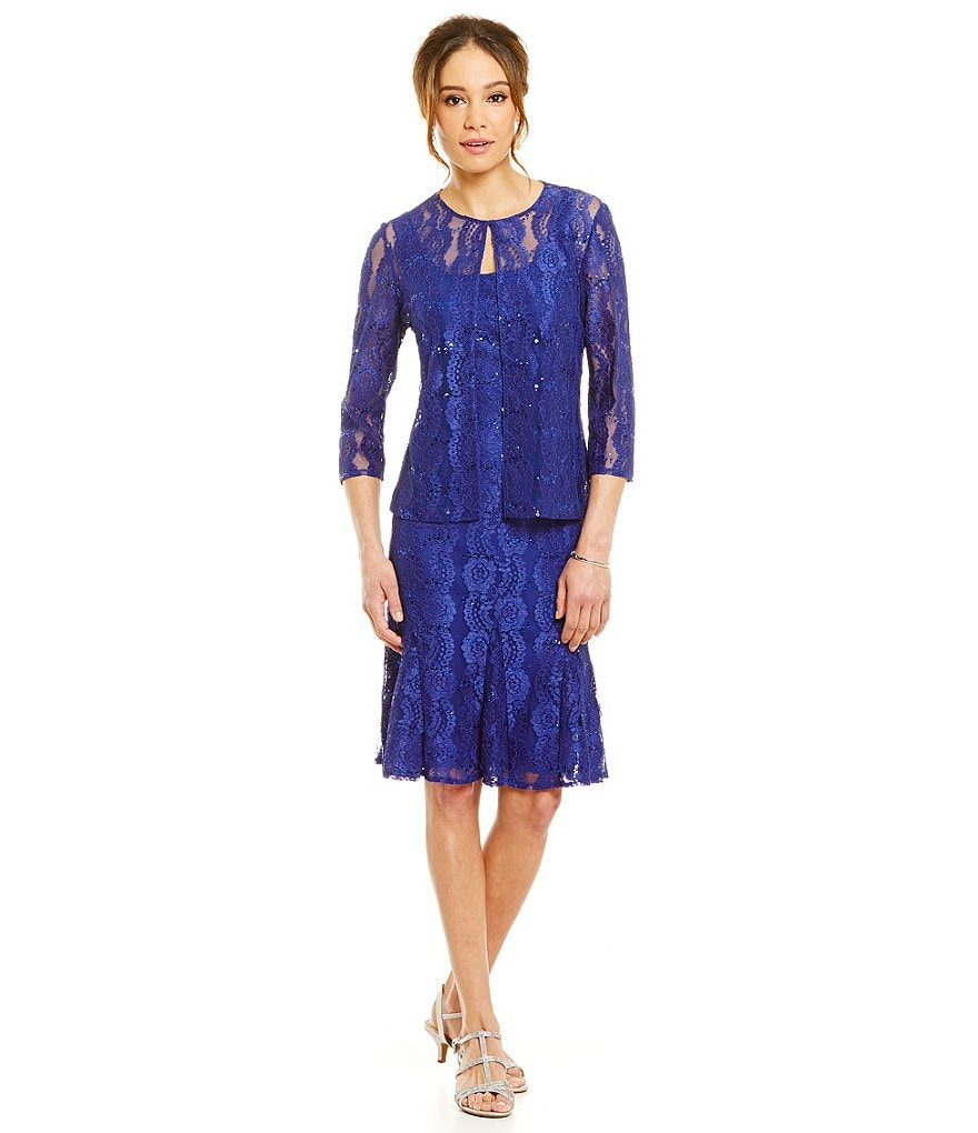 Alex Evenings Lace Fit And Flare Jacket Dress