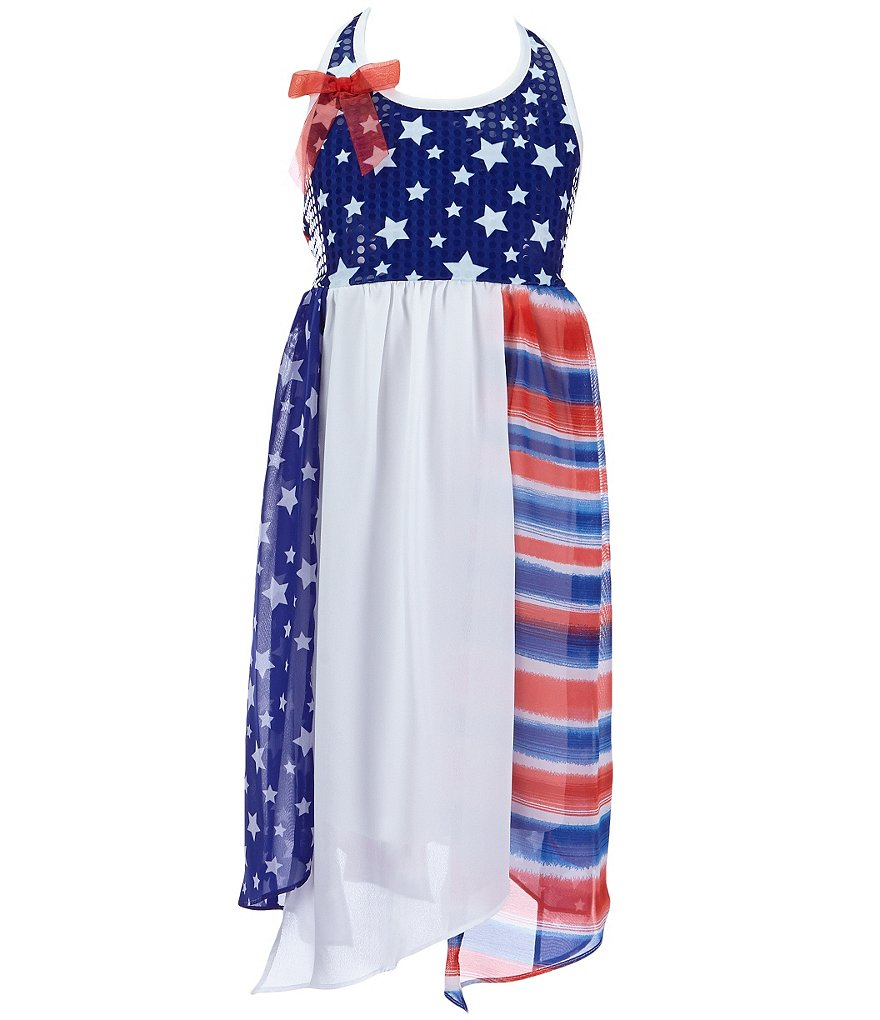 Bonnie Jean Big Girls 7-16 Americana Spangled-Knit/Chiffon Halter Dress